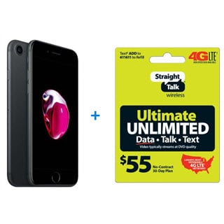 iPhone 7, 32GB, Black with free $55 Straight Talk Unlimited